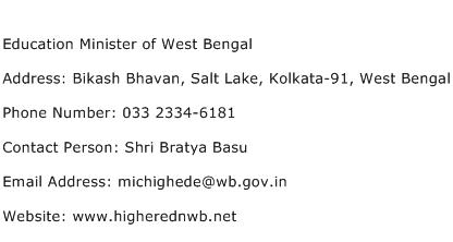 Education Minister of West Bengal Address Contact Number