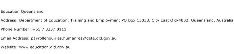 Education Queensland Address Contact Number