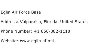 Eglin Air Force Base Address Contact Number
