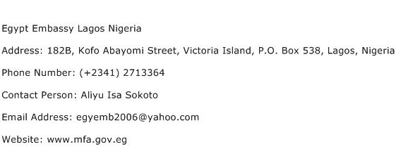 Egypt Embassy Lagos Nigeria Address Contact Number
