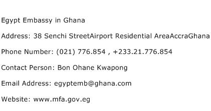 Egypt Embassy in Ghana Address Contact Number