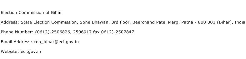 Election Commission of Bihar Address Contact Number