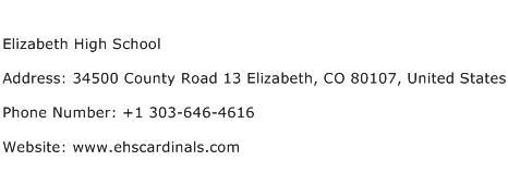 Elizabeth High School Address Contact Number