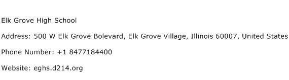 Elk Grove High School Address Contact Number