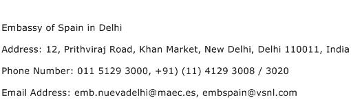 Embassy of Spain in Delhi Address Contact Number