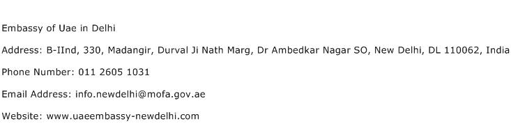 Embassy of Uae in Delhi Address Contact Number