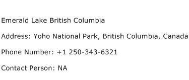 Emerald Lake British Columbia Address Contact Number