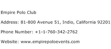 Empire Polo Club Address Contact Number