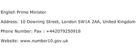 English Prime Minister Address Contact Number