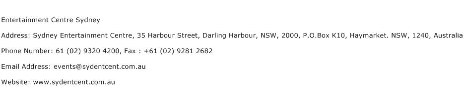 Entertainment Centre Sydney Address Contact Number