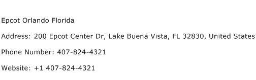 Epcot Orlando Florida Address Contact Number
