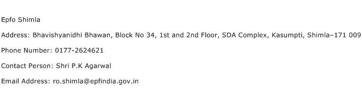 Epfo Shimla Address Contact Number