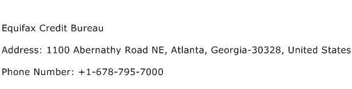 Equifax Credit Bureau Address Contact Number