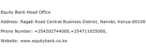 Equity Bank Head Office Address Contact Number