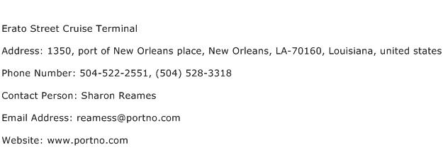 Erato Street Cruise Terminal Address Contact Number
