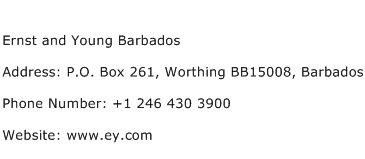 Ernst and Young Barbados Address Contact Number