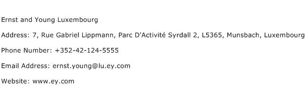 Ernst and Young Luxembourg Address Contact Number