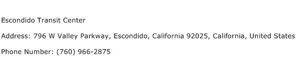 Escondido Transit Center Address Contact Number