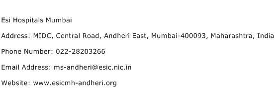 Esi Hospitals Mumbai Address Contact Number