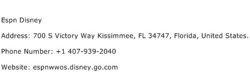 Espn Disney Address Contact Number