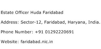 Estate Officer Huda Faridabad Address Contact Number