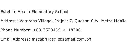 Esteban Abada Elementary School Address Contact Number