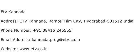 Etv Kannada Address Contact Number