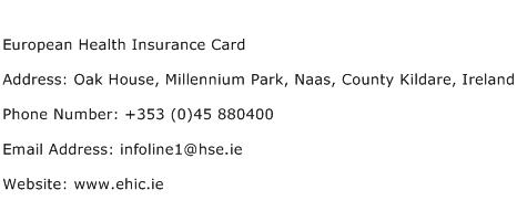 European Health Insurance Card Address Contact Number