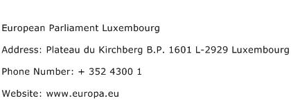 European Parliament Luxembourg Address Contact Number