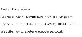 Exeter Racecourse Address Contact Number