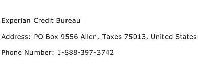 Experian Credit Bureau Address Contact Number
