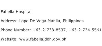 Fabella Hospital Address Contact Number