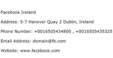 Facebook Ireland Address Contact Number