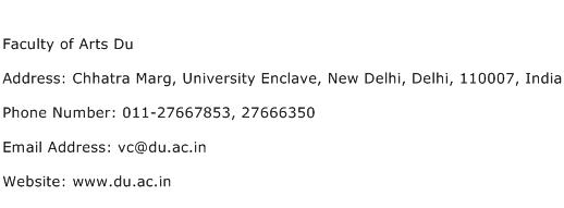 Faculty of Arts Du Address Contact Number