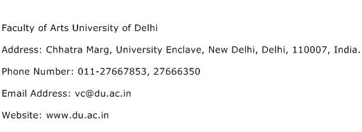 Faculty of Arts University of Delhi Address Contact Number