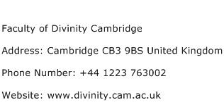 Faculty of Divinity Cambridge Address Contact Number