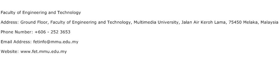 Faculty of Engineering and Technology Address Contact Number