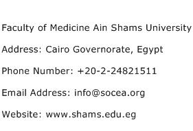 Faculty of Medicine Ain Shams University Address Contact Number