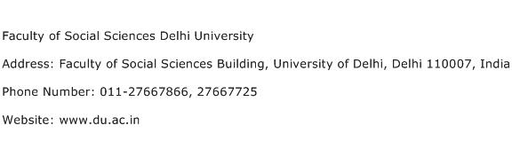 Faculty of Social Sciences Delhi University Address Contact Number