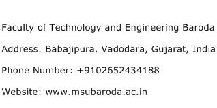 Faculty of Technology and Engineering Baroda Address Contact Number