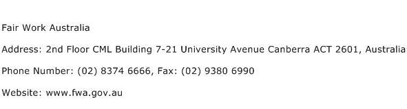 Fair Work Australia Address Contact Number