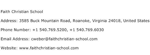 Faith Christian School Address Contact Number