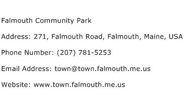 Falmouth Community Park Address Contact Number