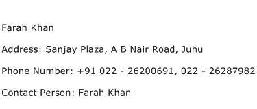 Farah Khan Address Contact Number