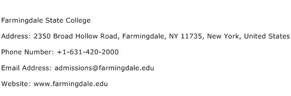 Farmingdale State College Address Contact Number
