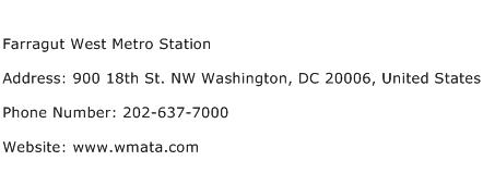 Farragut West Metro Station Address Contact Number
