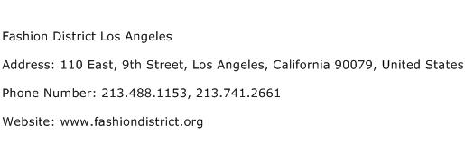 Fashion District Los Angeles Address Contact Number