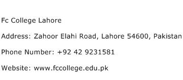 Fc College Lahore Address Contact Number