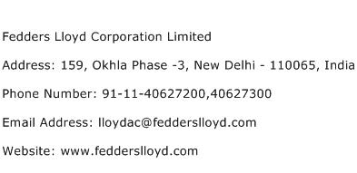 Fedders Lloyd Corporation Limited Address Contact Number