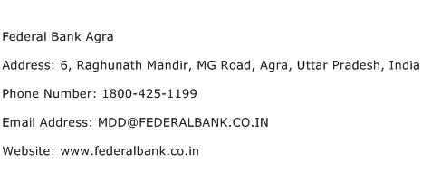 Federal Bank Agra Address Contact Number